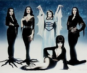 elvira, morticia, and Vampira image