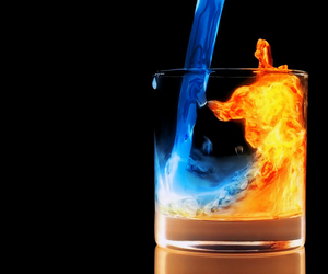 fire, water, and glass image