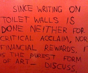 art, writing, and toilet image