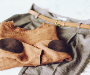 belt, camel, and sweater image
