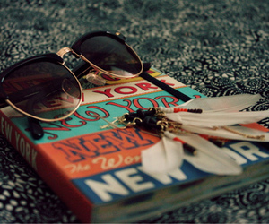 book, sunglasses, and vintage image