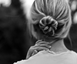 hair, girl, and black and white image