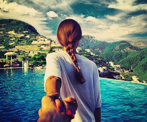 follow me, couple, and travel image