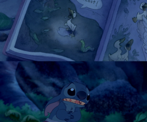 stitch, sad, and lost image