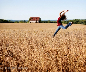 field, girl, and jump image