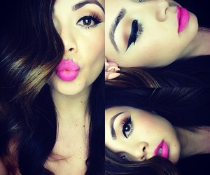 girl, pink, and lips image