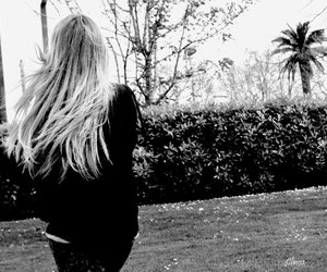 black and white, girl, and palms image
