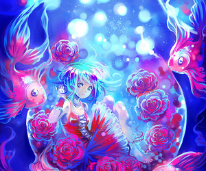 fish, art, and girl image