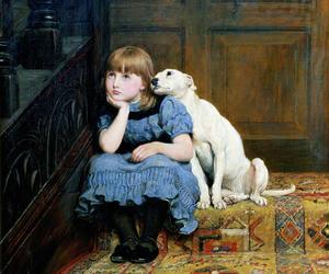1800, art, and dog and a girl image