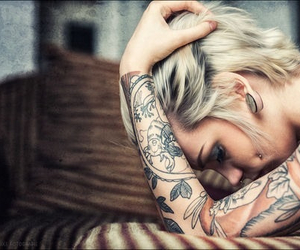 short hair, Tattoos, and alternative style image