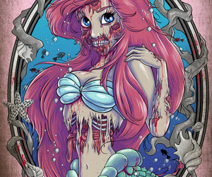 ariel, zombie, and disney image