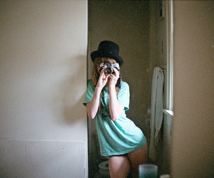 camera, girl, and underwear image