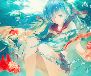 anime, vocaloid, and water image