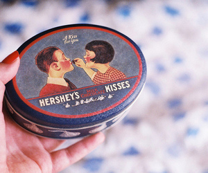 vintage, chocolate, and kiss image