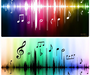 music, rainbow, and note image