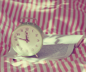 clock, pink, and book image