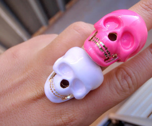 skull, pink, and ring image