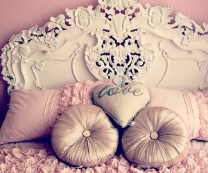 bed, pink, and love image