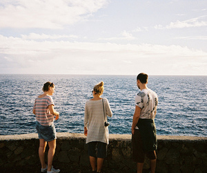 friends, boy, and sea image