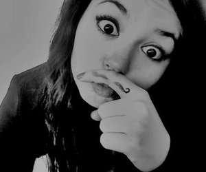 girl, black and white, and crazy image