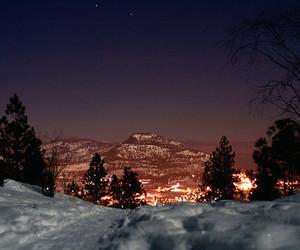 light, snow, and city image