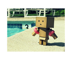 robot, summer, and swimmig pool image