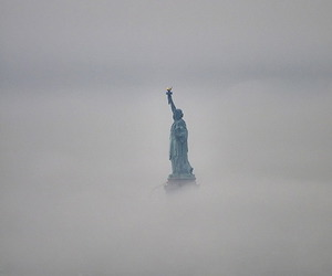 fog, statue of liberty, and new york image