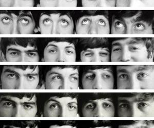 black and white, eyes, and the beatles image