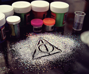 harry potter, deathly hallows, and glitter image