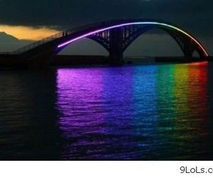 bridge, rainbow, and colors image