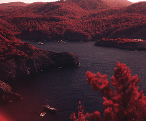 red, mountains, and nature image