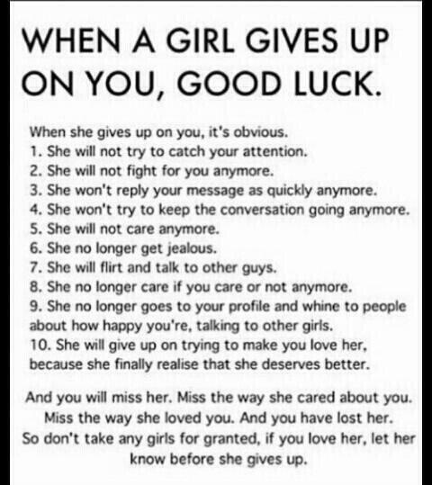 Quotes When A Girl Gives Up On You Good Luck