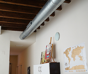 apartment, wooden ceiling, and art image