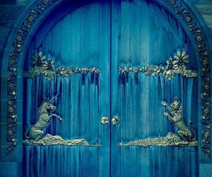 blue, door, and unicorn image