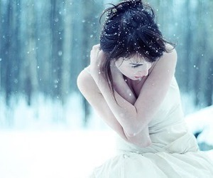 girl, white, and snow image