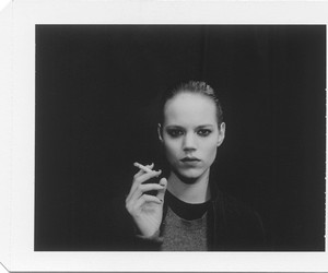 black and white, cigarette, and Freja Beha image
