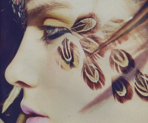 feather, girl, and makeup image