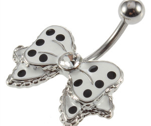 belly button ring, blak and white, and bow image