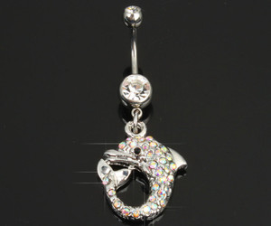 belly button ring, dolphin, and jewlery image
