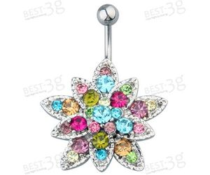 belly button ring, flower, and jewlery image
