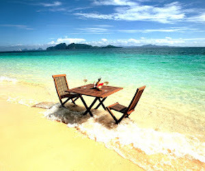 beach, sea, and table image