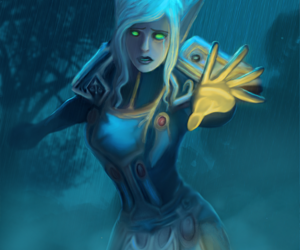 blood elf, blue, and digital painting image