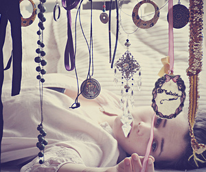 girl, necklace, and vintage image