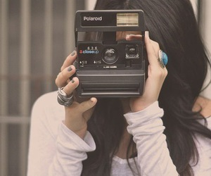 girl, camera, and polaroid image