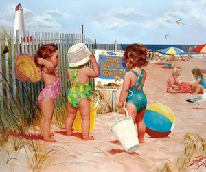 beach, baby, and summer image