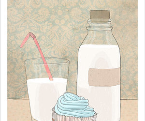 cupcake, painting, and pink image