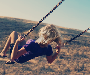 girl, swing, and blonde image