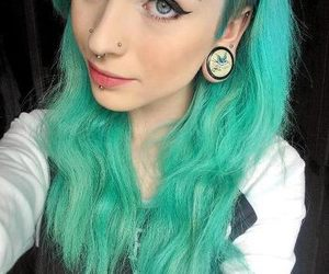 piercing, blue hair, and hair image