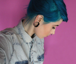piercing, blue, and blue hair image