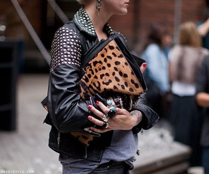 fashion, leopard print, and studs image
